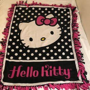 Hello kitty blanket pink black & white polka dots